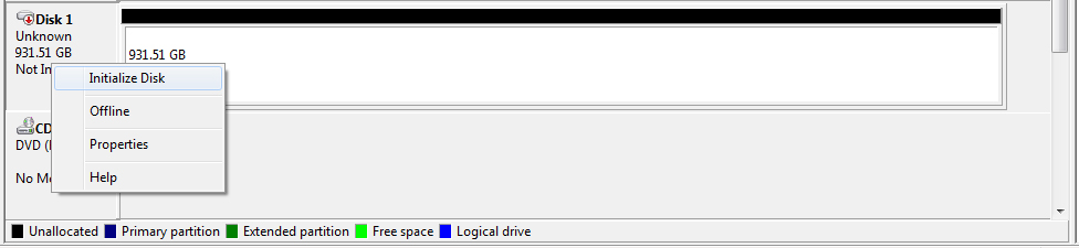 initialize disk نوین