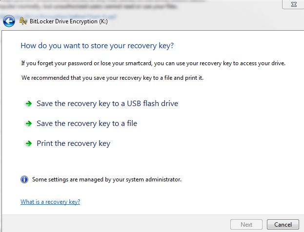 Store Recovery key